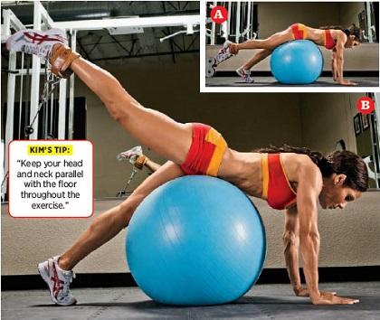 Single leg stability ball Glute Cabel Kickback