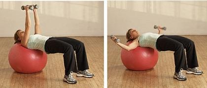 Razvlačenje s bučicama na pilates lopti